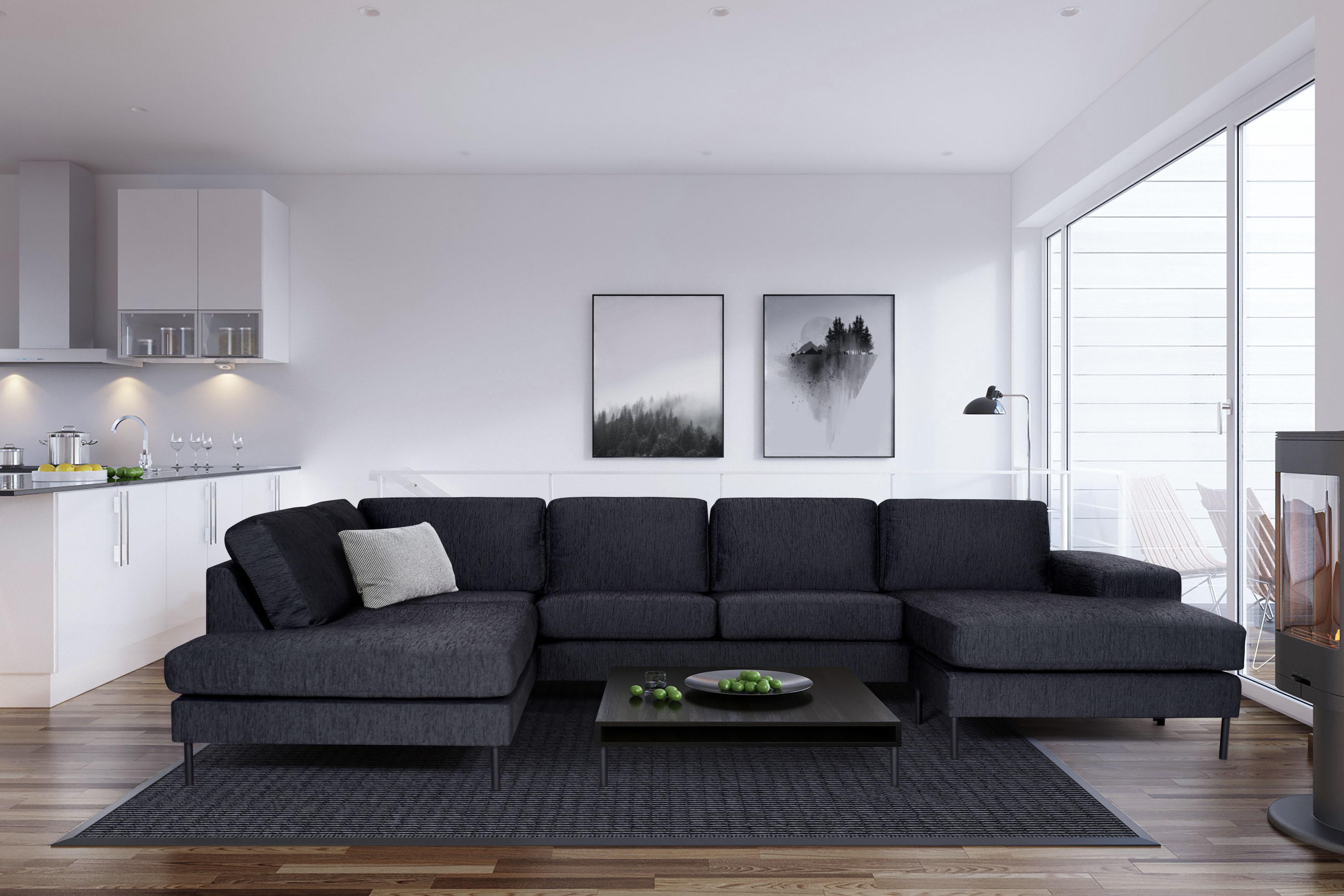 u sofa jonas elegantes zeitloses xxl designer sofa schwarz. Black Bedroom Furniture Sets. Home Design Ideas