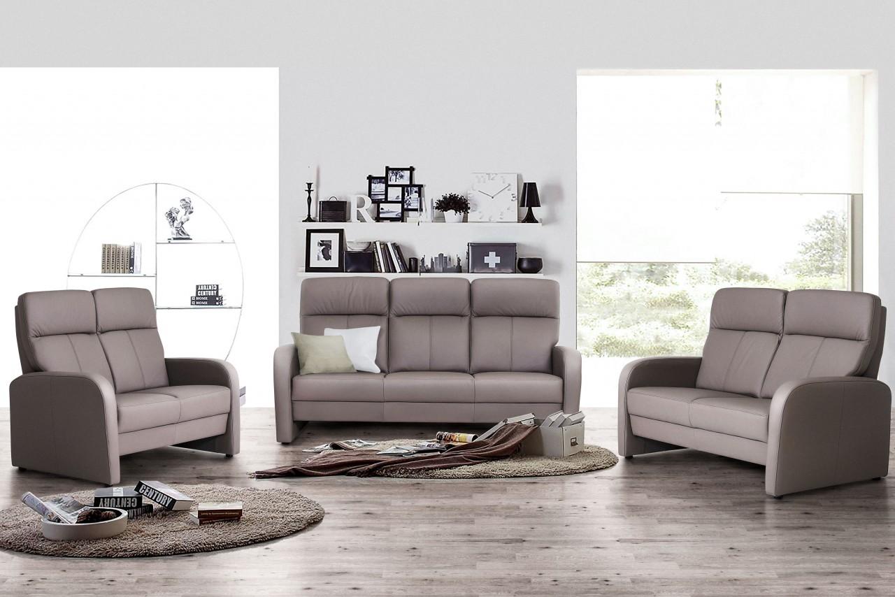 Sofa Leder Taupe Hoher Rücken in vielen Farben erhältlich | MDV-H