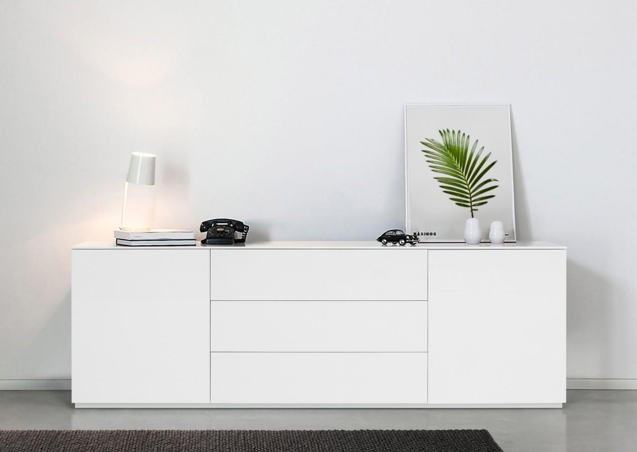 Sideboard Monaco 180 cm - Weiss Hochglanz lackiert