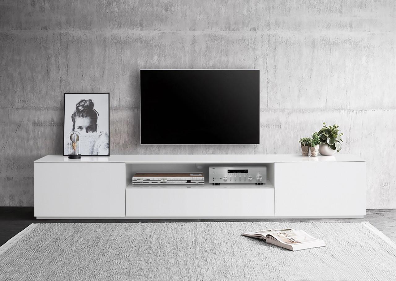 Lowboard XXL Weiss Hochglanz Lackiert 220 cm - Monaco