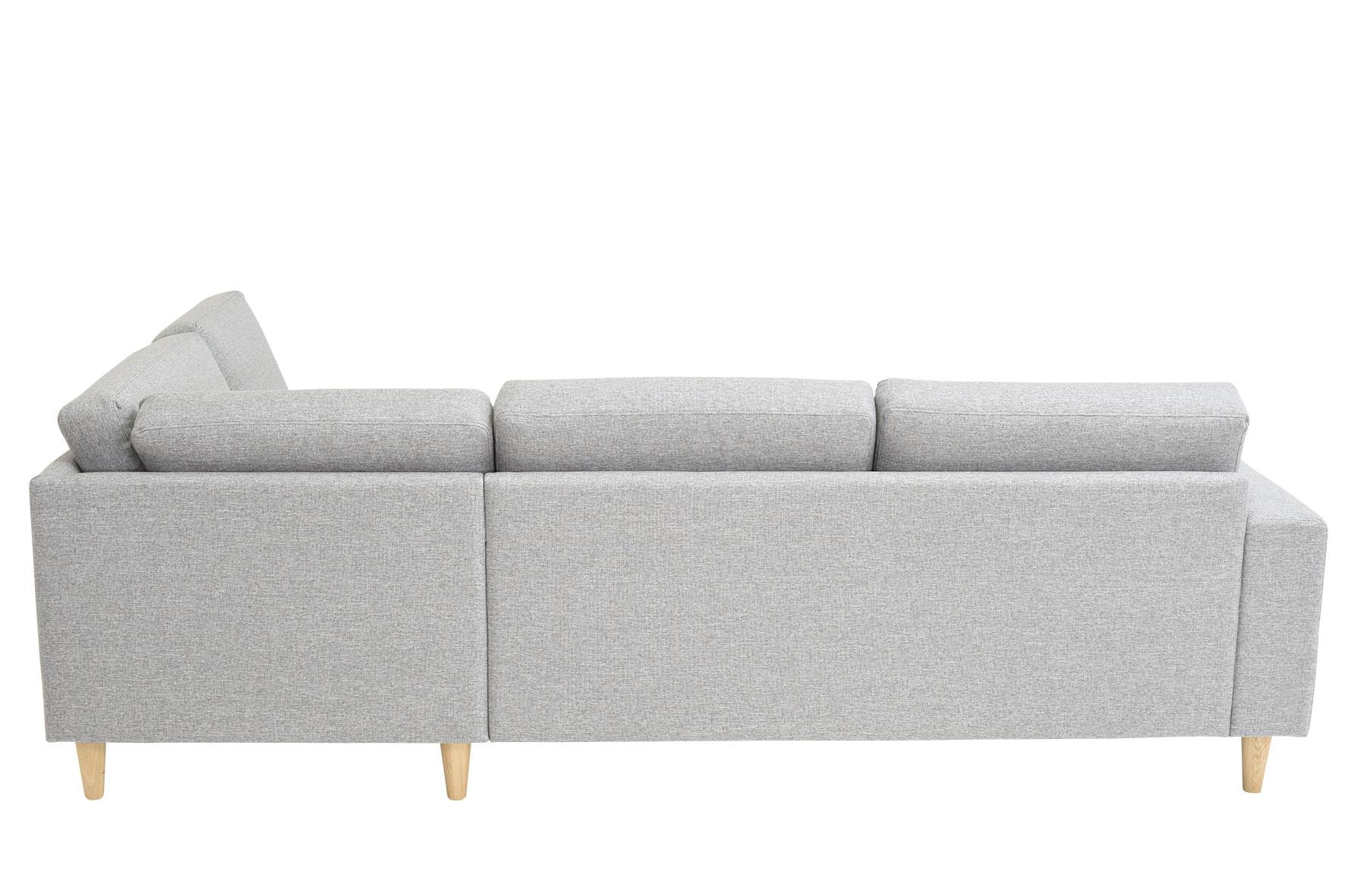 Ecksofa Mia Skandinavisches Design Holzfüsse Stoff Grau