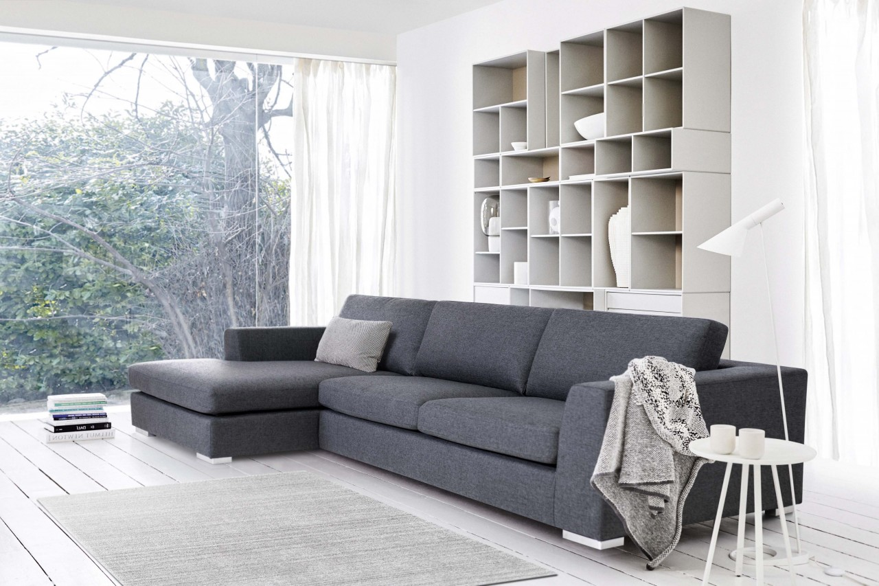 Ecksofa David modisches zeitloses Design Stoff Grau