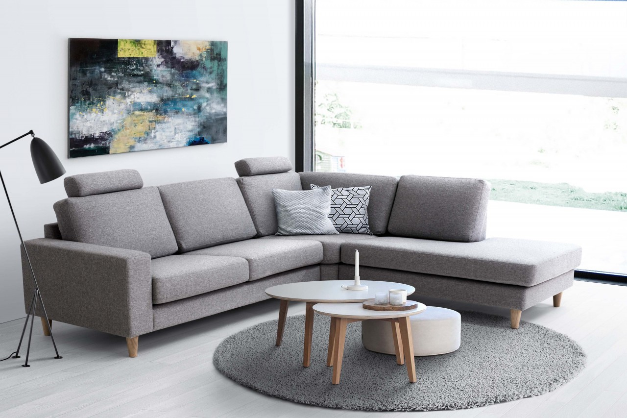 ecksofa mia skandinavisches design holzf sse stoff grau mdv h. Black Bedroom Furniture Sets. Home Design Ideas