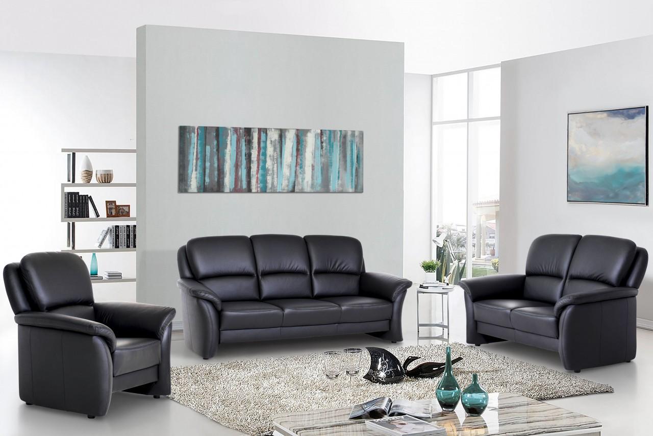 Ledersofa Emil klassisch elegantes Sofa in Leder Schwarz
