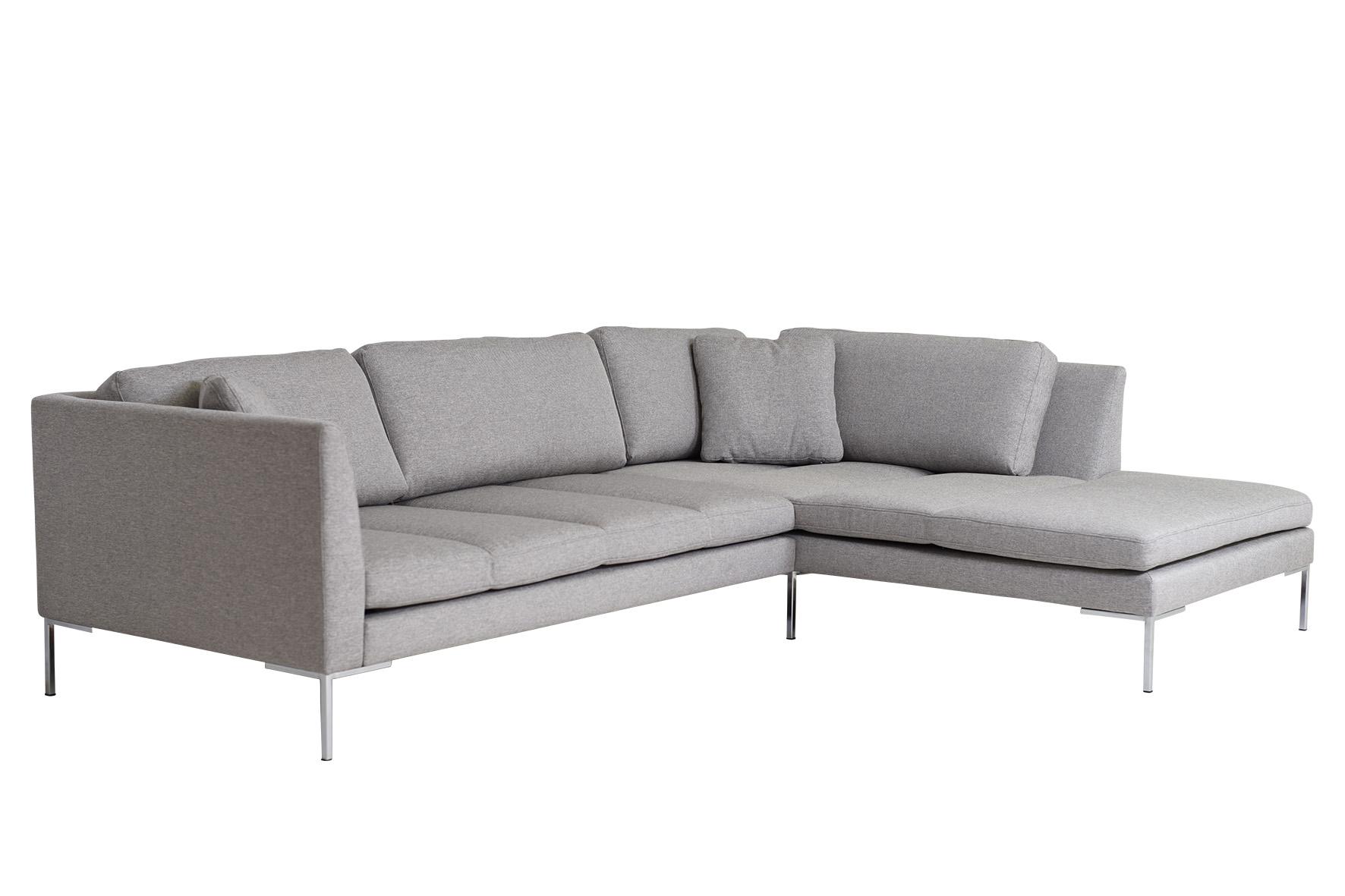 Ecksofa Felix modernes elegantes Designer Sofa Stoff Grau ...