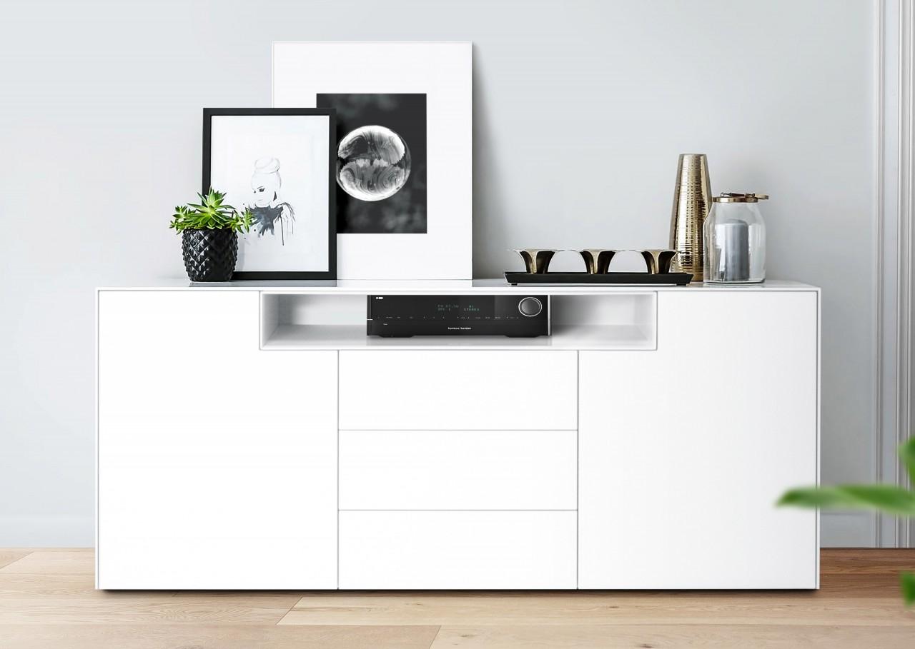 Sideboard Weiß Matt Lackiert 180 cm mit Nische - London