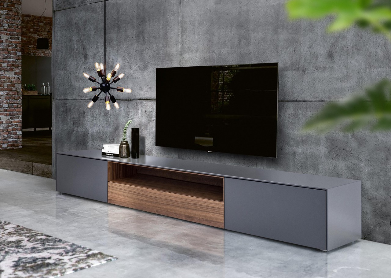TV Lowboard - Nussbaum Anthrazit 220 cm - London